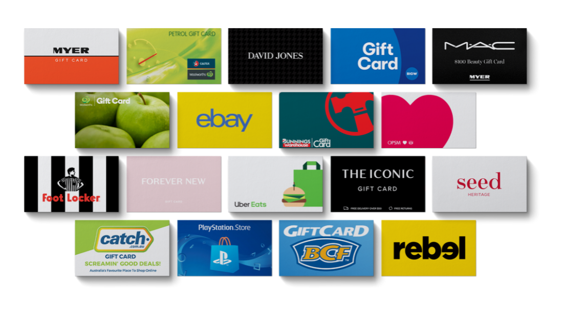 Branded Gift Cards available on Australian Gift Cards Shop - GIFTA